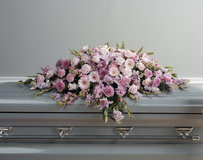 Lavender and pinks casket spray