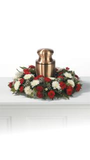 Red and White Urn Wreath
