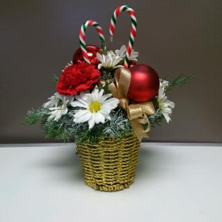 Golden Christmas basket