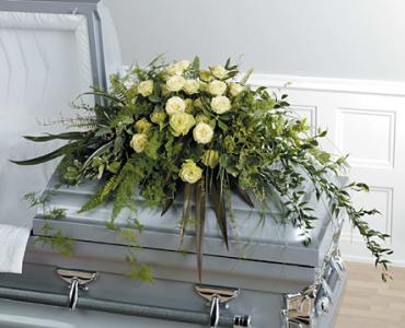 Foilage and Rose Casket Spray